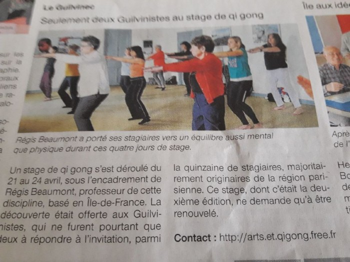 Ouest France qi gong article
